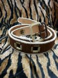 KILLER 50s ROCKABILLY LEATHER BELT- SIZE 95 -AMAZING DESIGN - TOP QUALITY - VLV - BROWN